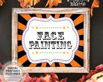 """Halloween Face Painting Sign, Carnival Party Face, Carnival Games, Circus Face Painting, Circus Activities, PRINTABLE 8x10/16x20"""" Sign <ID>"""