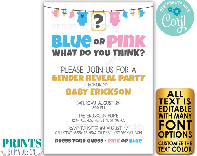 """Gender Reveal Party Invitation, Blue or Pink What Do You Think? Custom PRINTABLE 5x7"""" Gender Reveal Invite <Edit Yourself w/Corjl>"""