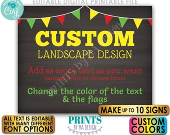 """Custom Signs with Flags, Choose Your Text & Colors, Up to 10 PRINTABLE 8x10/16x20"""" Chalkboard Style Landscape Signs <Edit Yourself w/Corjl>"""