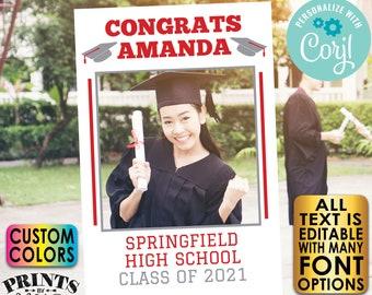 "Graduation Photo Frame, High School Graduation Party Selfie Station, Custom PRINTABLE 24x36"" Digital File <Edit Yourself with Corjl>"