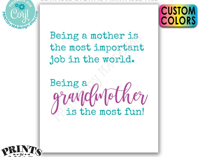 Being a Mother is the Most Important Job in the World, Being a Grandmother is the Most Fun, PRINTABLE Sign <Edit Colors Yourself w/Corjl>