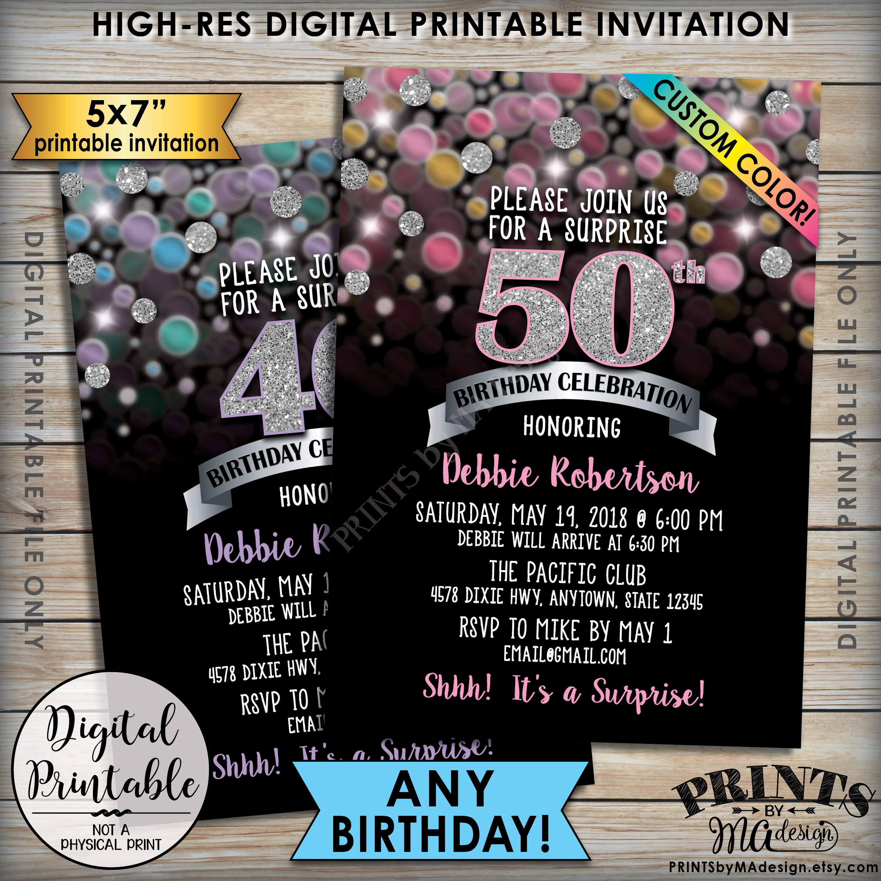 Surprise Birthday Invitation Party Invite Any