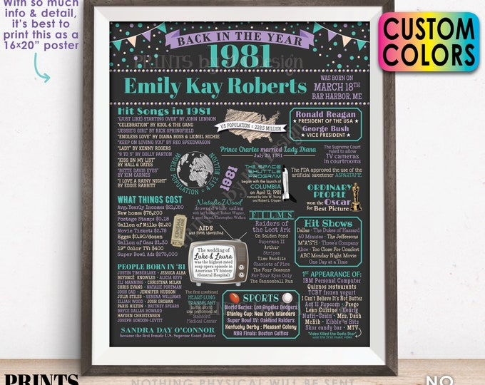 """Back in the Year 1981 Birthday Sign, Flashback to 1981 Poster Board, 1981 Birthday Gift, Custom PRINTABLE 16x20"""" B-day Decoration"""