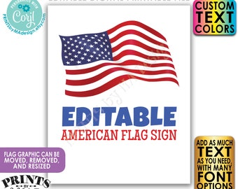 Editable American Flag Sign, 4th of July, Memorial or Labor Day, Choose Your Text, 1 PRINTABLE Portrait USA Sign <Edit Yourself w/Corjl>
