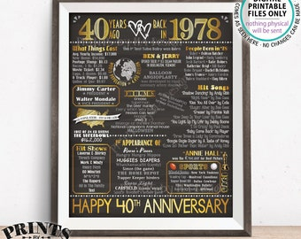 "40th Anniversary Gift, Married in 1978 Anniversary Flashback 40 Years Back in 1978, Golden, PRINTABLE 8x10/16x20"" Chalkboard Style Sign <ID>"