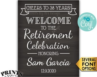 """Cheers to Retirement Party Sign, Welcome to the Retirement Celebration, PRINTABLE Chalkboard Style 16x20"""" Sign <Edit Yourself with Corjl>"""
