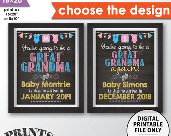 """Pregnancy Announcement Going to be a GREAT GRANDMA, We're Expecting, Great Grandmother Oma Nana, Chalkboard Style PRINTABLE 8x10/16x20"""" Sign"""