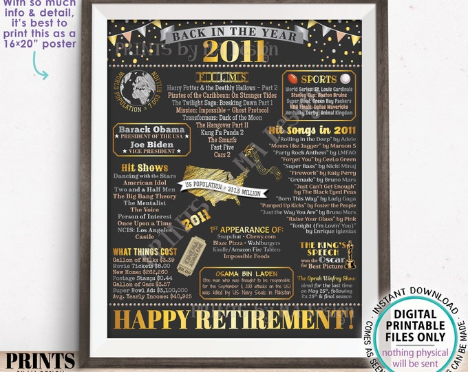 """Back in the Year 2011 Retirement Party Poster Board, Flashback to 2011 Sign, PRINTABLE 16x20"""" Retirement Party Decoration <ID>"""
