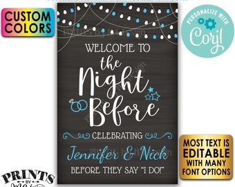 """Welcome to the Night Before Rehearsal Dinner Sign, PRINTABLE 24x36"""" Chalkboard Style Sign with Custom Colors  <Edit Yourself with Corjl>"""