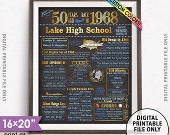 "50th Reunion Class of 1968 Reunion Poster, Back in 1968 Flashback 50 Years Ago Reunion, Chalkboard Style PRINTABLE 8x10/16x20"" 1968 Poster"