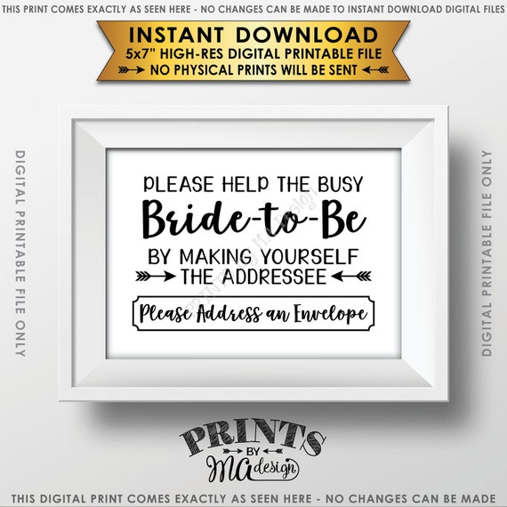 address envelope bridal shower sign addressee help the bride etsy