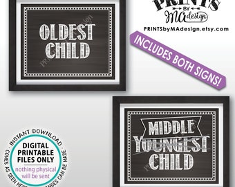 """3rd Baby Pregnancy Announcement Photo Props, Oldest & Middle to Youngest Kids, Two 8x10/16x20"""" Chalkboard Style Baby Reveal Signs <ID>"""