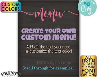 "Editable Menu, PRINTABLE 8x10/16x20"" Chalkboard Style Sign with Custom Colors, Wedding Anniversary, Retirement <Edit Yourself with Corjl>"