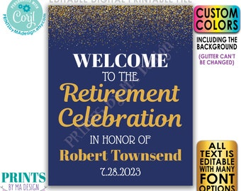 """Editable Retirement Party Sign, Welcome to the Retirement Celebration, Gold Glitter, Custom PRINTABLE 16x20"""" Sign <Edit Yourself with Corjl>"""