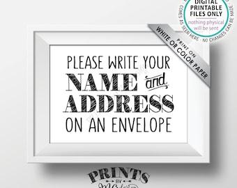 "Address an Envelope Sign, Bridal Shower, Gaduation Party, Birthday Celebration, Retirement, Wedding, PRINTABLE 5x7"" Addressee Sign <ID>"