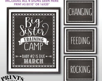 """Big Sister Training Camp Pregnancy Announcement Photo Props, Baby #2 is due MARCH Dated Chalkboard Style PRINTABLE 8x10/16x20"""" Signs <ID>"""