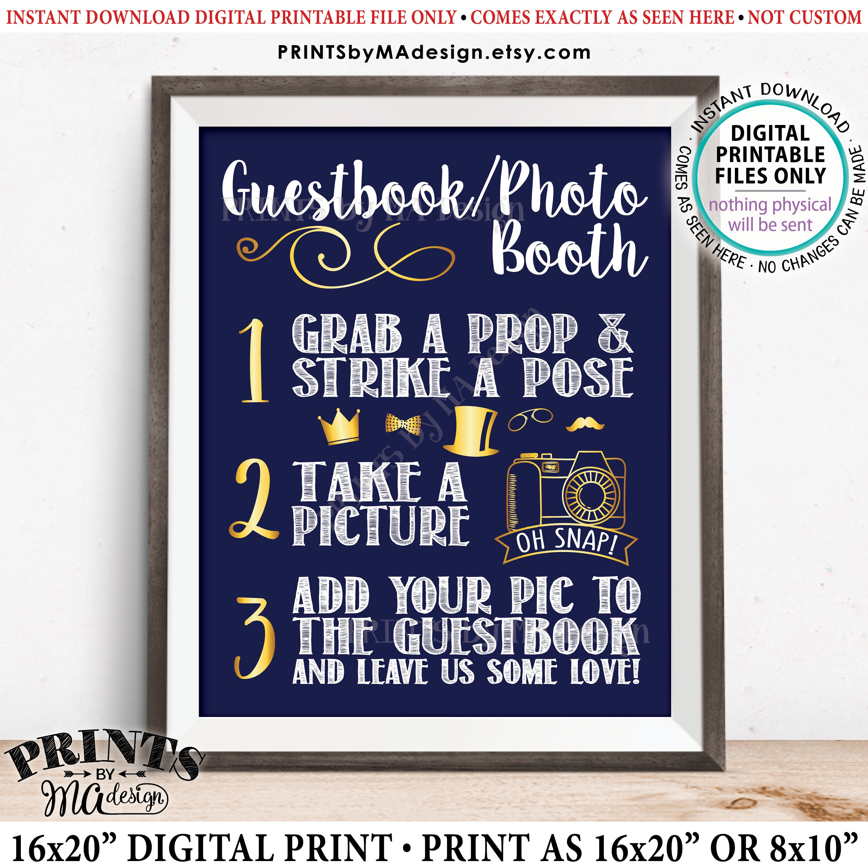 photograph relating to Selfie Station Sign Free Printable known as Guestbook Photobooth Indicator, Incorporate picture towards the Visitor Ebook