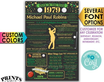 """Back in 1979 Poster, Golf Themed Celebration, Birthday, Retirement, Custom PRINTABLE 24x36"""" 1979 Flashback Sign <Edit Yourself with Corjl>"""