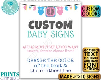 """Editable Baby Theme Sign, Baby Shower, Pregnancy,  Up to 10 Custom PRINTABLE 8x10/16x20"""" Portrait Signs, Choose Text <Edit Yourself w/Corjl>"""