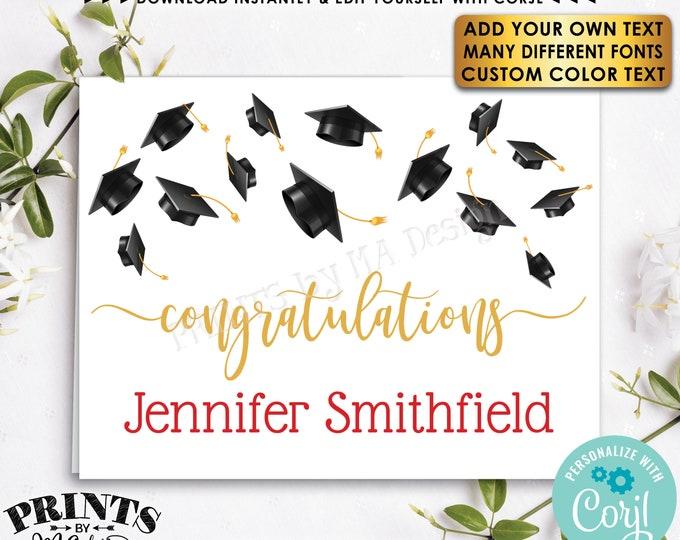 "Editable Graduation Card with Grad Caps, Congratulations, Thank You, One Custom PRINTABLE 4.25x5.5"" Template <Edit Yourself w/Corjl>"