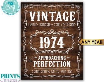 """Vintage Birthday Sign, Getting Better with Age Whiskey Themed Editable Template, PRINTABLE Rustic Wood 16x20"""" <Edit Yourself w/Corjl>"""