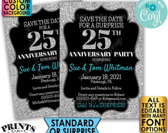 """Silver Glitter Anniversary Party Save the Date, Surprise or Standard Invite, Custom PRINTABLE 5x7"""" Digital File <Edit Yourself with Corjl>"""