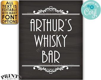 """Whisky Bar Sign, Editable Sign, Any Text, Custom PRINTABLE 8x10/16x20"""" Chalkboard Style Sign, Man Cave Decoration <Edit Yourself with Corjl>"""