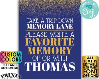 """Memory Sign, Take a Trip Down Memory Lane and Share a Favorite Memory, PRINTABLE 8x10/16x20"""" Gold Glitter Sign <Edit Yourself with Corjl>"""