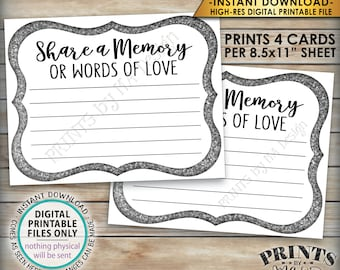 "Share a Memory Card, Memory or Words of Love, Share Memories, Memorial, Retirement, Graduation, Silver, 4 cards per 8.5x11"" PRINTABLE Sheet"