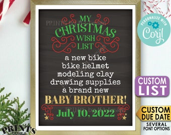 Christmas Pregnancy Announcement, Wish for a Baby Brother, Custom List, PRINTABLE Chalkboard Style Baby #2 Sign <Edit Yourself with Corjl>