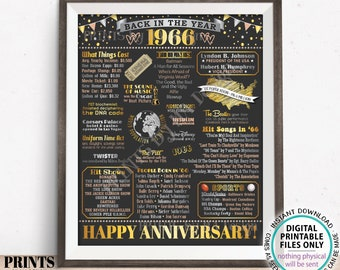 """Back in 1966 Anniversary Poster Board, Flashback to 1966 Anniversary Decor, PRINTABLE 16x20"""" Sign, 1966 Anniversary Gift <ID>"""