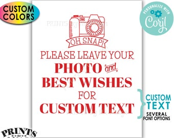 """Please Leave Your Photo & Best Wishes Sign, Custom Text and Colors, PRINTABLE 8x10/16x20"""" Digital File <Edit Yourself with Corjl>"""