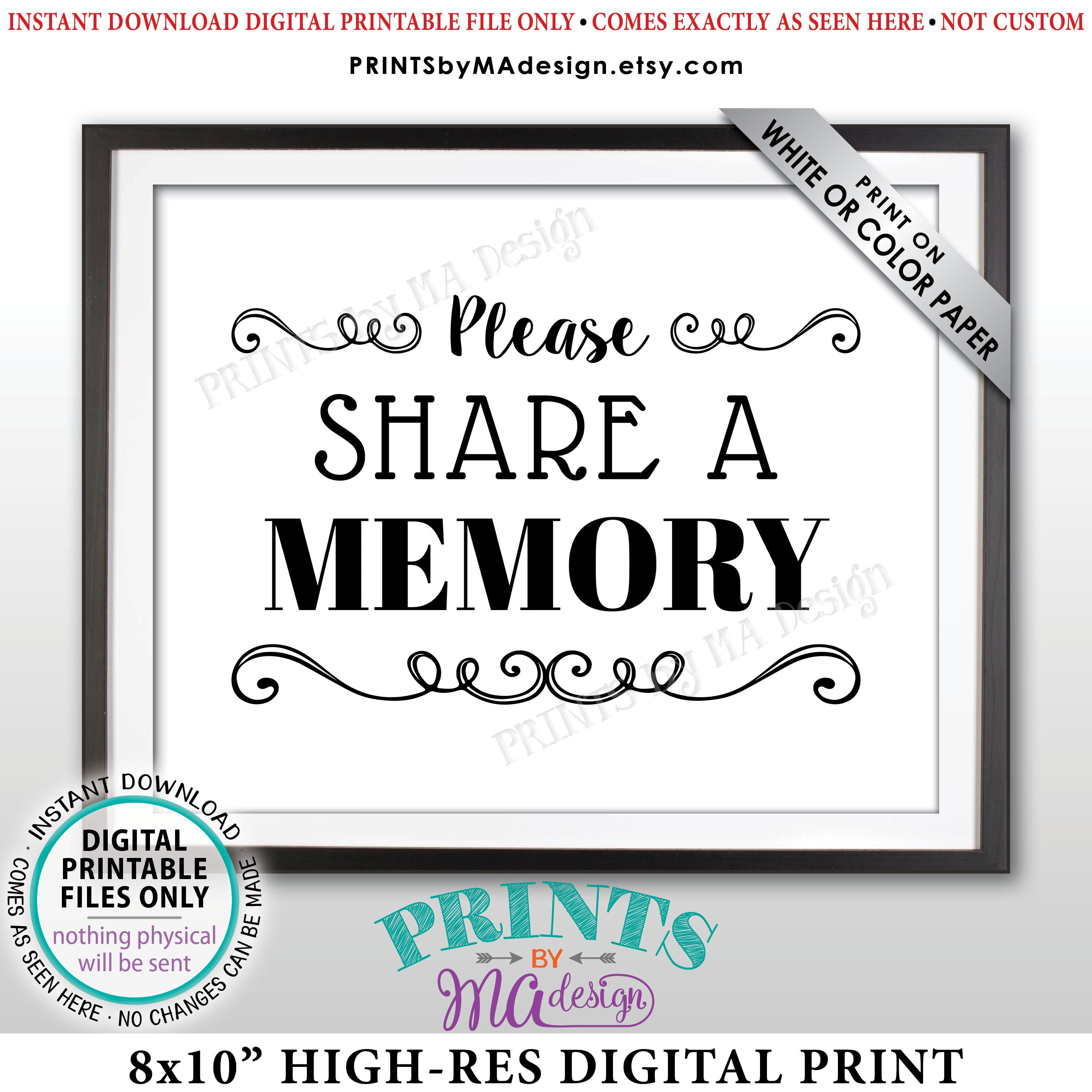 Birthday Party Please Write a Memory Share Memories Black /& White PRINTABLE 5x7\u201d Sign Retirement Party Share a Memory Sign