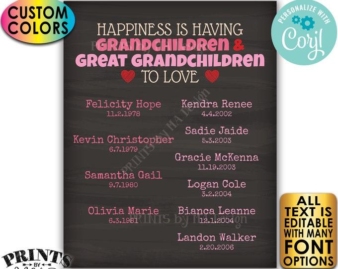 Great Grandparent Gift, List of Grandchildren & Great Grandchildren, PRINTABLE Chalkboard Style Grandkids Sign <Edit Yourself w/Corjl>