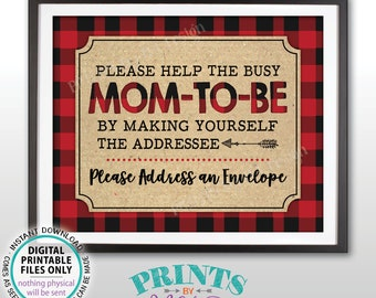 """Address an Envelope Sign, Baby Shower Thank You Address Sign, Make Yourself the Addressee, PRINTABLE 8x10"""" Lumberjack Style Sign <ID>"""
