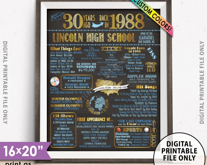 """1988 Reunion Poster, Class of 1988 30th Reunion, Back in 1988 Flashback 30 Years Ago, Chalkboard Style PRINTABLE 8x10/16x20"""" 1988 Poster"""