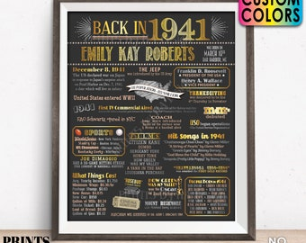 "Back in 1941 Birthday Poster Board, Flashback to 1941 Birthday Decoration, B-day Gift, Custom PRINTABLE 16x20"" 1941 Sign"