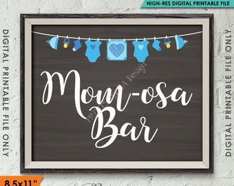 """Mimosa Bar Sign, MOMosa Sign, Make a Mimosa Drink Sign, Mom-osa Sign, Blue Clothesline, Instant Download 8.5x11"""" Chalkboard Style Printable"""