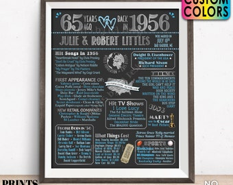 """65th Anniversary Poster Board, Married in 1956 Anniversary Gift, Back in 1956 Flashback 65 Years, Custom PRINTABLE 16x20"""" 1956 Sign"""