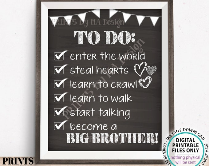 """To Do List Sign, Big Brother Checklist Sign, Pregnant with Baby #2, PRINTABLE 8x10/16x20"""" Chalkboard Style Pregnancy Announcement Sign <ID>"""