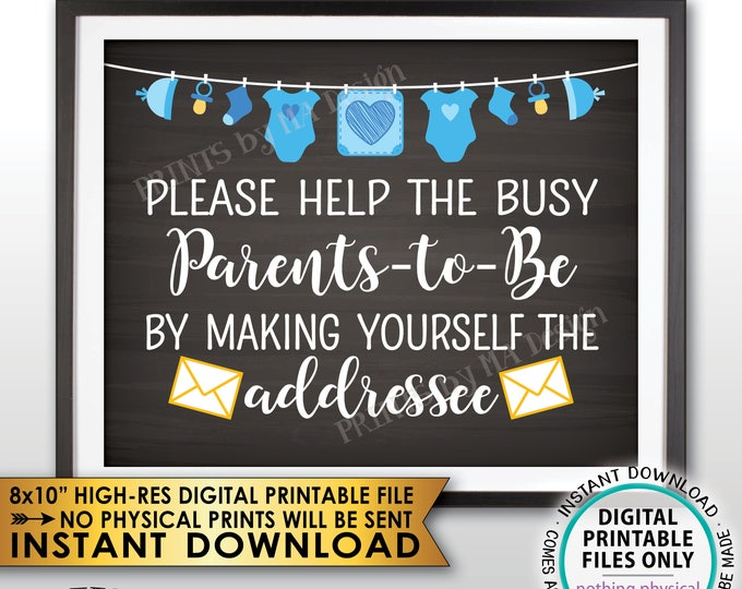 """Address an Envelope Baby Shower Help the Parents-to-Be Address Envelope, It's a Boy Blue Clothesline, Chalkboard Style PRINTABLE 8x10"""" <ID>"""