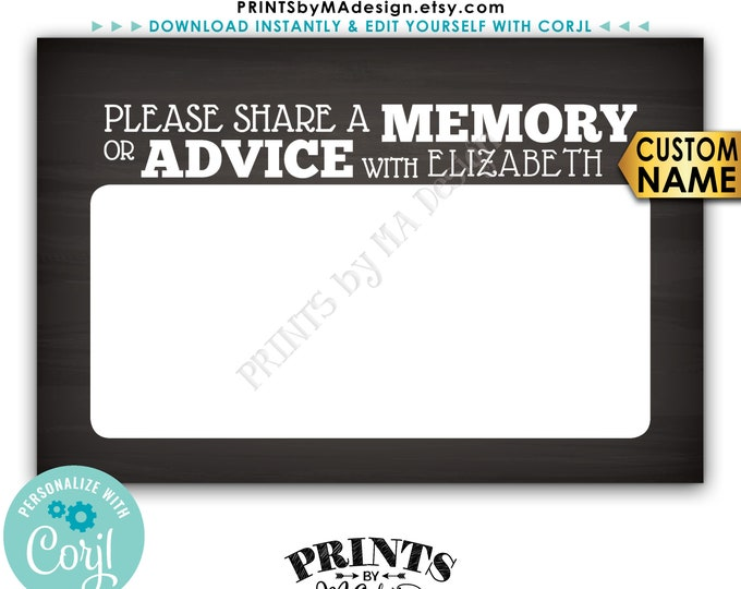 """Memory or Advice Cards, Please Share a Memory or Advice, PRINTABLE Chalkboard Style 4x6"""" Digital File <Edit Yourself with Corjl>"""