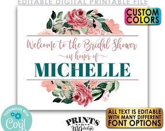 """Editable Bridal Shower Welcome Sign, Rose Gold Blush Floral, Custom PRINTABLE 8x10/16x20"""" Editable Template <Edit Yourself w/Corjl>"""