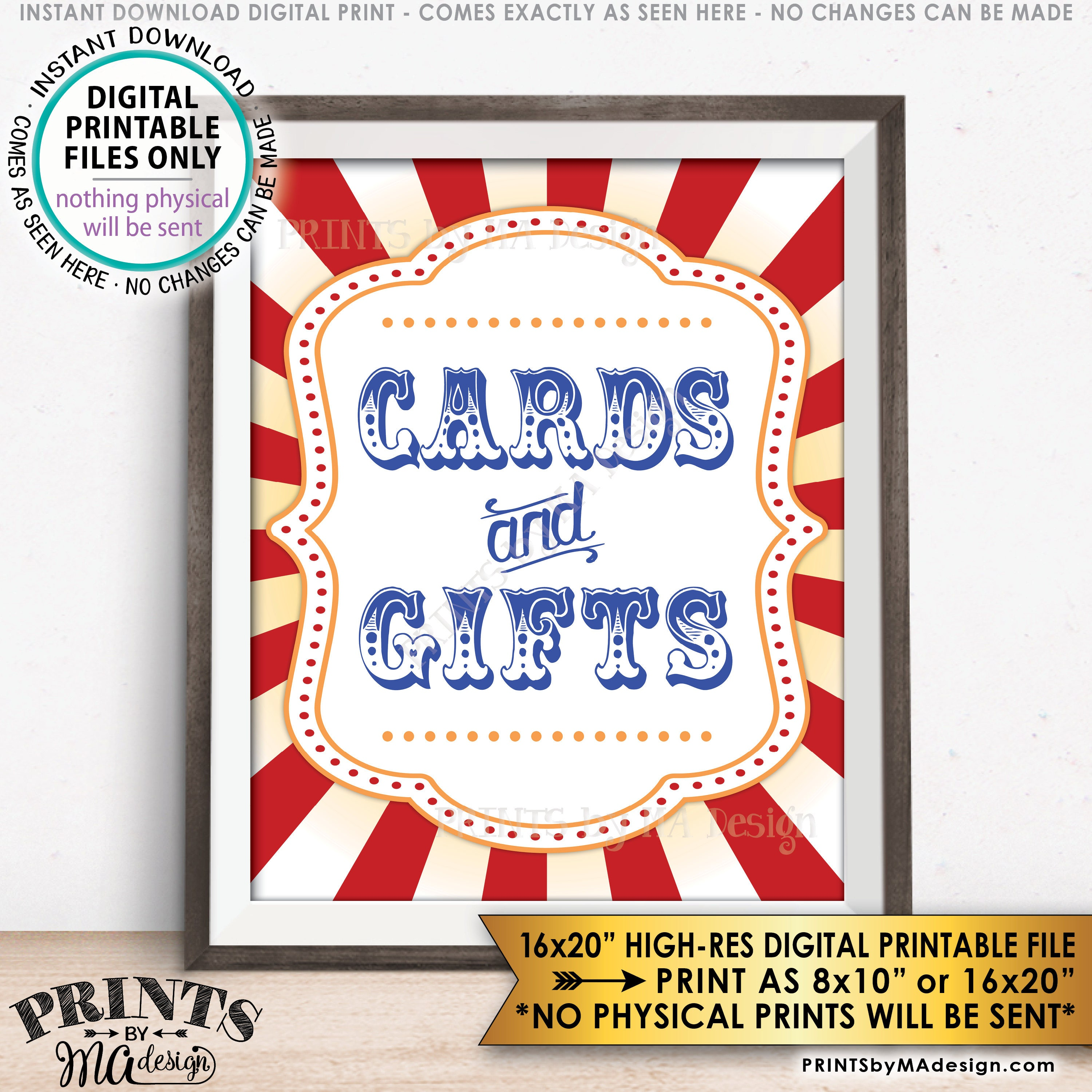 Cards And Gifts Sign Cards Gifts Carnival Theme Party Sign