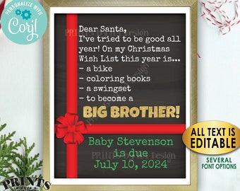 Christmas Pregnancy Announcement, Dear Santa, Wish to Become a Big Brother Promotion, Custom PRINTABLE Xmas Sign <Edit Yourself with Corjl>