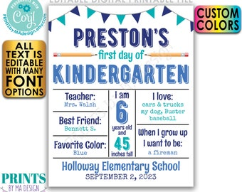 """Editable 1st Day of School Sign, Custom First Day, PRINTABLE 8x10/16x20"""" Back to School Photo Prop, School Stats <Edit Yourself w/Corjl>"""