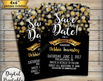 """Save the Date for a Birthday Party, Golden Birthday Save the Date, Black & Gold Glitter Birthday Invite, 4x6"""" Digital Printable File"""