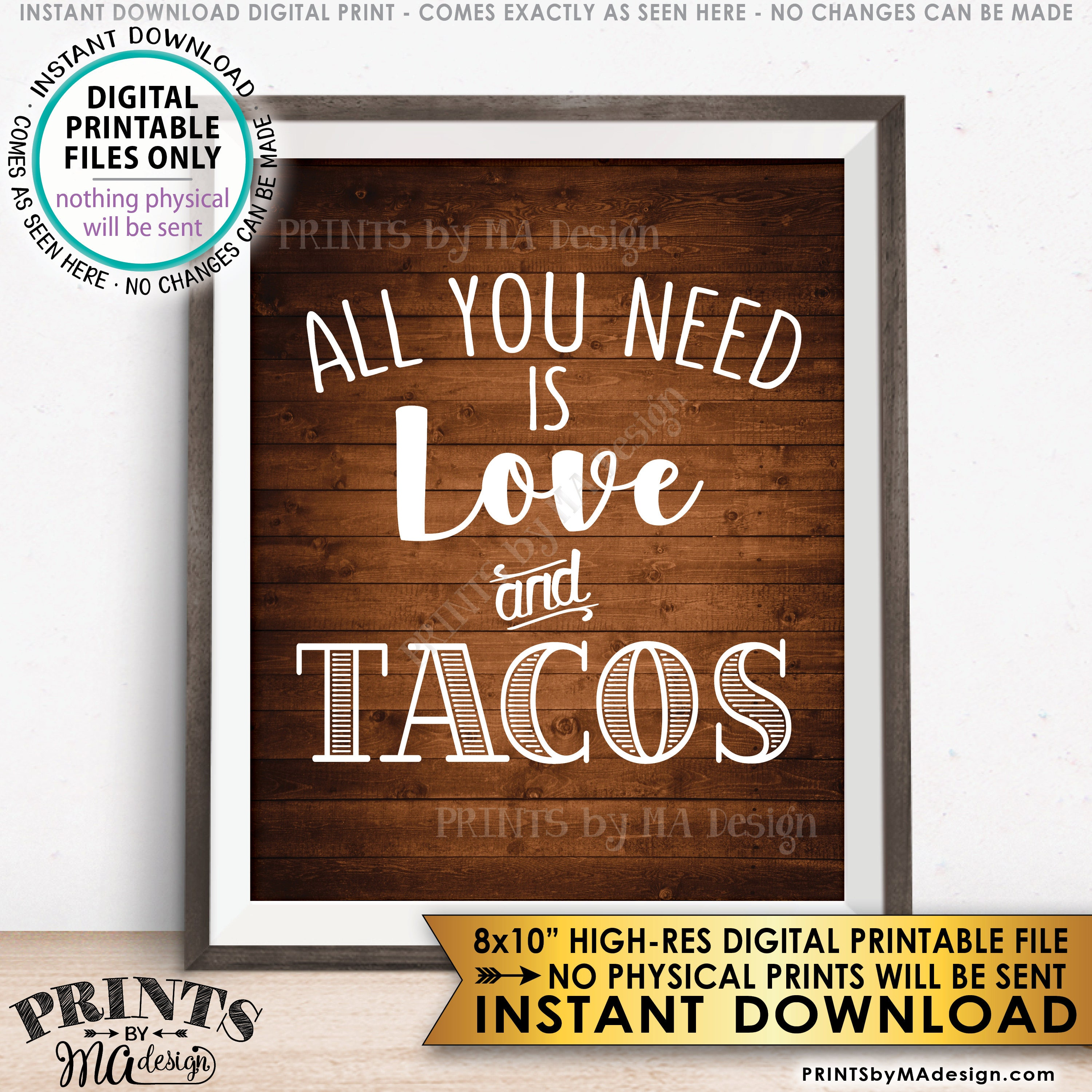All You Need Is Love And Tacos Sign Taco Wedding Sign Wedding