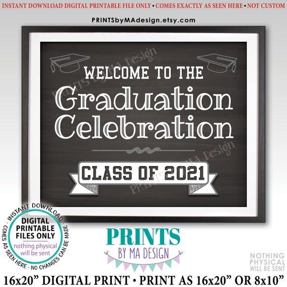 Graduation Party Decorations Congratulations Graduate Sign PRINTABLE 16x20\u201d Chalkboard Style Sign Future College