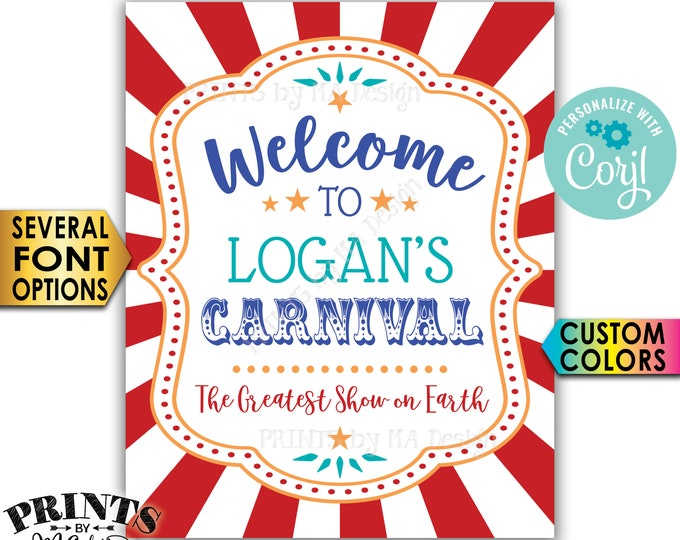 """Carnival Welcome Sign, Welcome to the Carnival Theme Party Sign, Custom PRINTABLE 8x10/16x20"""" Sign <Edit Yourself with Corjl>"""